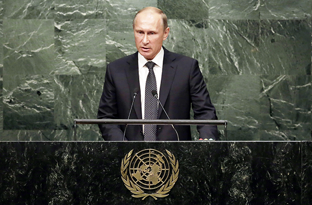 Russia's Vladimir Putin addresses the 70th session of the United Nations General Assembly, Monday, Sept. 28, 2015. (AP Photo/Richard Drew)